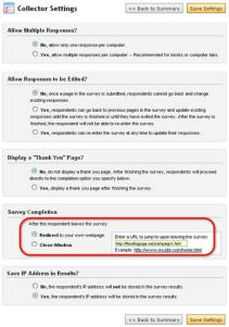 Collector Settings in SurveyMonkey to point to your own landing page.